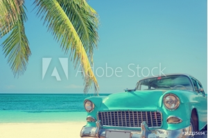 Bild på Classic car on a tropical beach with palm tree, vintage process