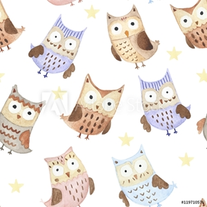 Bild på Adorable watercolor owls seamless pattern