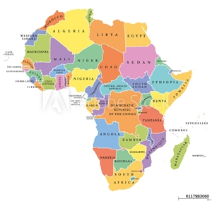 Bild på Africa single states political map. Each country with its own color area. With national borders on white background. Continent including Madagascar and island nations. English labeling.