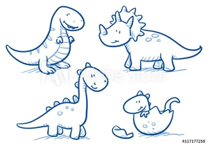 Bild på Cute little cartoon dinosaur babies for children, hand drawn vector doodle