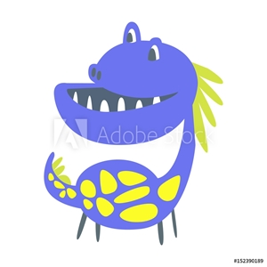 Bild på Blue and yellow funny dinosaur. Prehistoric animal character vector Illustration