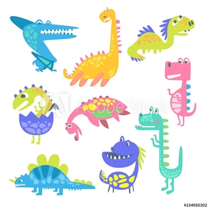 Bild på Cute funny dinosaurs. Collection of prehistoric animal characters vector Illustrations
