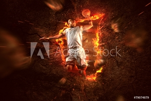 Bild på Basketball Player on Fire