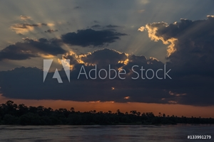 Bild på Beautiful Sunset over the Zambezi River, Zambia, The Zambezi is the fourth longest river in Africa