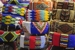 Bild på African bright colorful beads bracelets. Local market.