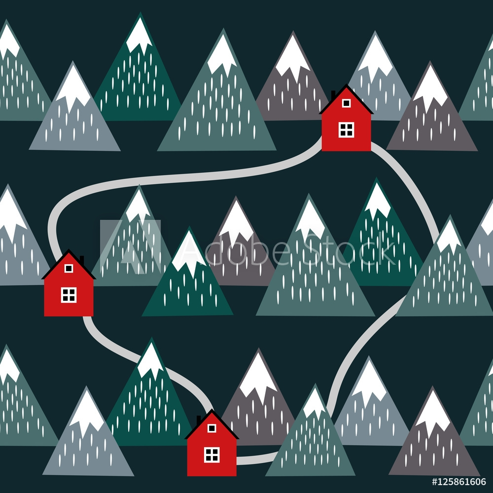Bild på Cute Icelandic landscape with houses and mountains. Seamless pattern with geometric snowy mountains and homes. Colorful Iceland nature illustration. Vector mountains background.