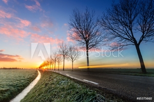 Bild på A sunrise on a rural road, cars passing by.