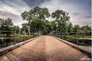 Bild på Bridge over pond in Churchill Park in Copenhagen, Denmark, a cloudy day of summer