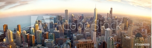 Bild på Aerial Chicago panorama at sunset, IL, USA