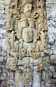 Bild på Ancient Maya Statue at Copan, Honduras