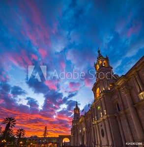 Bild på Cathedral of Arequipa, Peru, with stunning sky at dusk