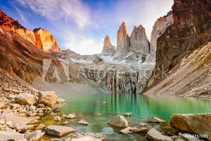 Bild på Laguna torres with the towers at sunset, Torres del Paine National Park, Patagonia, Chile