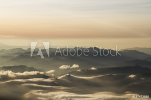 Bild på Aerial view of the Andes Mountains at dawn, Ecuador