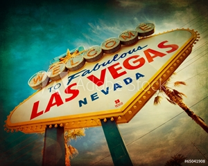 Bild på Famous Welcome to Las Vegas sign with vintage texture