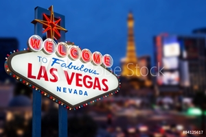 Bild på LAS VEGAS - MAY 12 : Welcome to fabulous Las Vegas neon sign wit