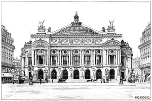 Bild på Facade of the opera, vintage engraving.