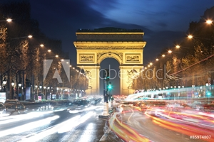 Bild på Arc De Triomphe and light trails, Paris