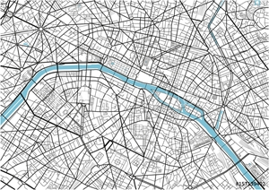 Bild på Black and white vector city map of Paris with well organized separated layers.