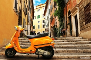 Bild på Orange vintage scooter on the background of Rome street