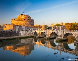 Bild på Holy Angel Castle at sunset, Rome, Italy, Europe. Rome ancient tomb of emperor Hadrian. Rome Holy Angel Castle (Castel sant'Angelo) is one fo the best known landmark of Rome and Italy.