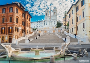 Bild på famous Spanish Steps with fountain, Rome, Italy