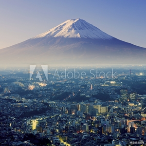 Bild på Mount Fuji. Fujiyama. Aerial view with cityspace surreal shot. J