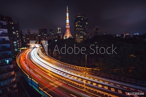 Bild på Illuminated road and cityscape, Tokyo, Japan, East Asia