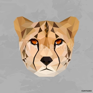 Bild på Cheetah colored head geometric lines isolated on grey background vintage design element