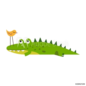 Bild på Cute little bird sitting on a crocodile nose vector Illustration