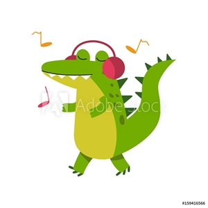 Bild på Funny cartoon crocodile character in headphones listening music and walking vector Illustration