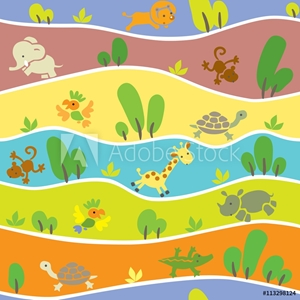 Bild på Seamless pattern with funny african animals