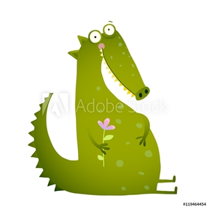 Bild på Green Cute Kids Crocodile Sitting with Flower