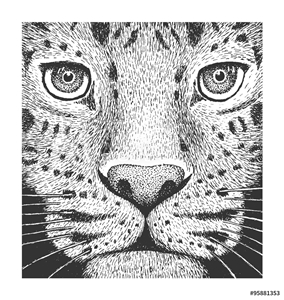 Bild på Leopard Engraving Illustration
