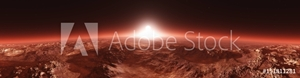 Bild på Mars from orbit, panorama of Mars, Marsim landscape, sunrise over Mars, 3D rendering