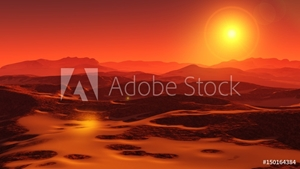 Bild på Landscape of Mars, Martian panorama, panorama of Mars, mountain landscape
