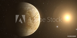 Bild på A rendered Image of the Jupiter Moon Europa on a starry background.
