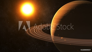 Bild på The sun shines on Saturn in space high quality 3d illustration.