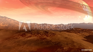 Bild på A Mars-like red planet with an arid landscape, rocky hills and mountains, and a giant moon at the horizon with Saturn-like rings, for space exploration and science fiction backgrounds.