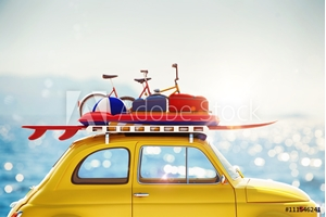Bild på 3D rendering of holiday on the road