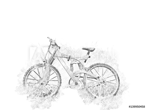 Bild på Abstract bicycle isolated on watercolor background.