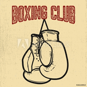 Bild på Boxing club. Boxing gloves on white background. Design element for poster,label, emblem, sign. Vector illustration