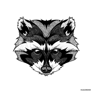 Bild på Raccoon head, illustration, black and white