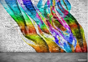 Bild på abstract colorful graffiti on brick wall