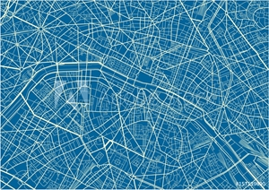Bild på Blue and White vector city map of Paris with well organized separated layers.