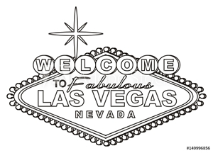 Bild på Las vegas, casino,  America, USA, illustration, cartoon, symbol, city, poker, city of sins,  travel, famous , illustration, signboard, black and white