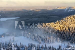 Bild på Beautiful winter view in the early morning. Finland, Ruka