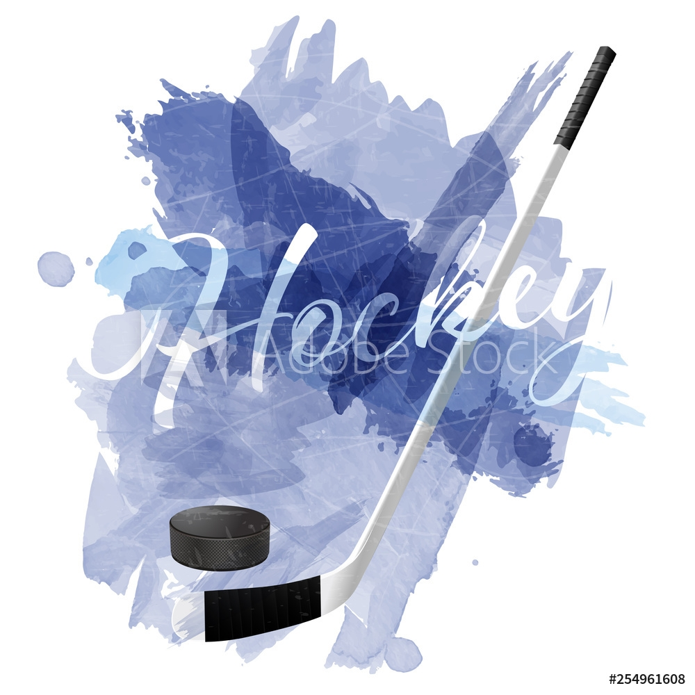 Bild på Abstract blue watercolor splashes with ice hockey equipment